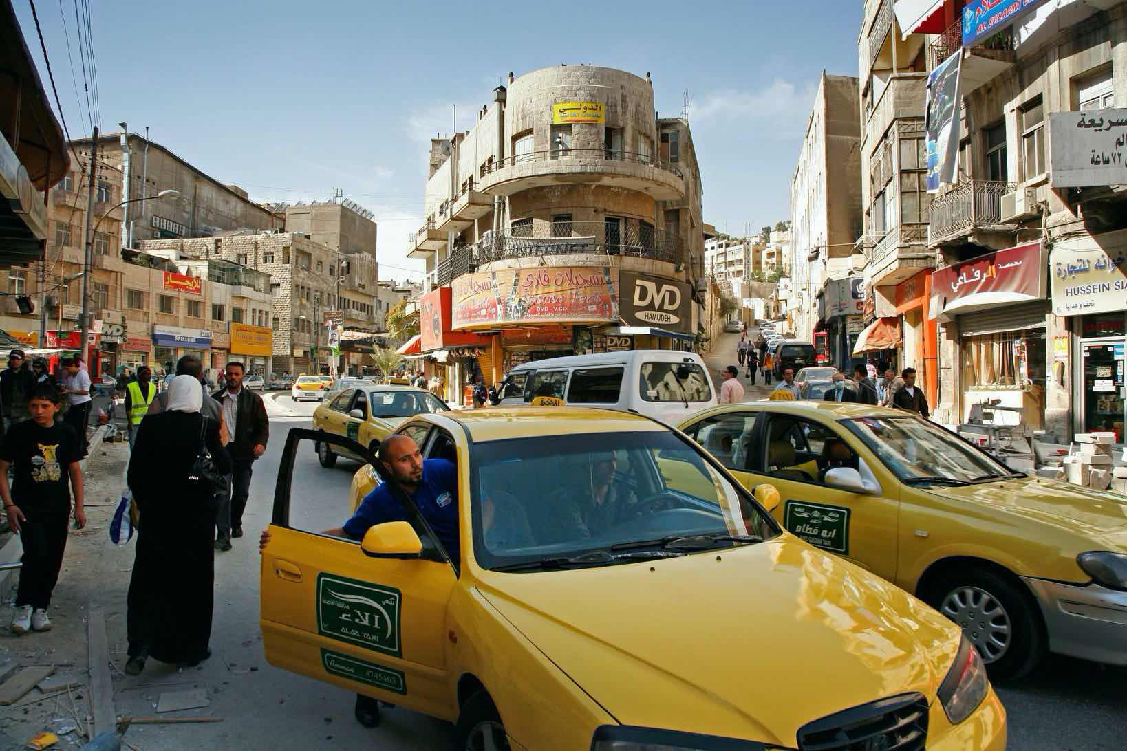 A busy intersection in downtown Amman, Jordan's capital and political center.